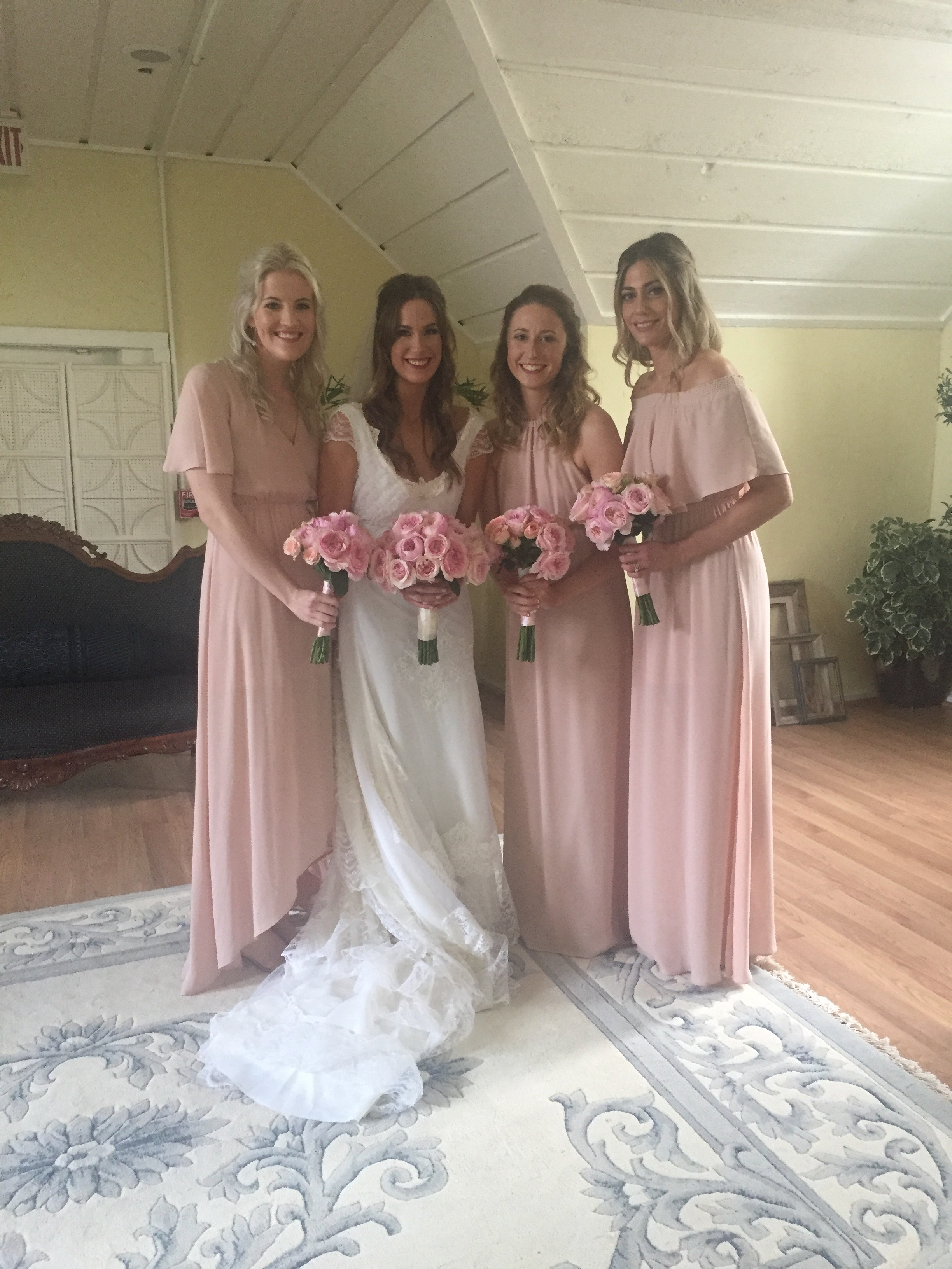 The Bride Wore Her Mothers Wedding Gown That Had Been Reworked For Best Fit Brides Maids Soft Pink Chiffon Dresses